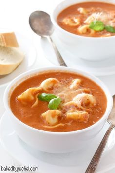 Creamy homemade slow cooker tomato and cheese tortellini soup recipe from @bakedbyrachel
