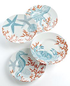 222 Fifth Set of 4 Coastal Life Assorted Dessert Plates - Serveware - Dining & Entertaining - Macy's
