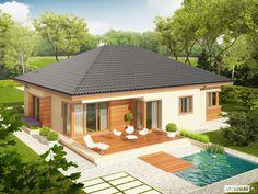 Projekt domu Eris (wersja C) multi-comfort - koszt budowy 227 tys. Modern Bungalow House, Bungalow House Plans, Bedroom House Plans, Beautiful House Plans, Simple House Plans, Small House Design, Modern House Design, One Storey House, Hut House
