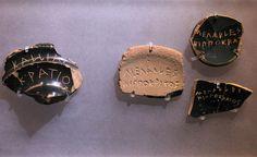 Potsherds (ostraka) used as voting tokens   by Tilemahos Efthimiadis