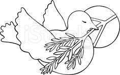 Dove with Peace symbol and Olive Branch stock vector art 8621923 ...