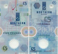 Banknotes.com - Northern Ireland 5 Pounds 1999 - Irish Bank Notes, Paper Money, World Currency, Banknotes, Banknote, Bank-Notes, Coins & Currency. Currency Collector. Pictures of Money, Photos of Bank Notes, Currency Images, Currencies of the World. Banks Logo, Polymer Plastic, American Psycho, Old Money, Notes Design, Flags Of The World, 5 Pounds, Space Shuttle, Northern Ireland
