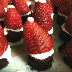 Santa hat brownies for Christmas!