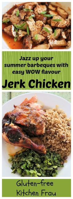 Jerk chicken, coated in a blend of zesty spices, grilled, then slathered with a sweet, hot, & tangy sauce. Tender, moist, smoky. Authentic Jamaican recipe.