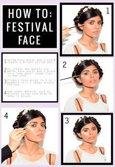 Going to a festival? Get your face festival ready - The Missguided way Festival Looks, Festival Wear, Festival Outfits, Festival Fashion, Rewind Festival, Festival Style, Coachella Makeup, White Face Paint, Rave Makeup