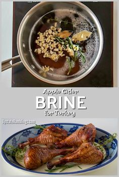 This Apple Cider Brine recipe is full of autumn flavors that permeate and moisten the meat, making it perfect for turkey, chicken or pork. Try it this Thanksgiving and say goodbye to dry turkey! Easy Meat Recipes, Healthy Recipes, Thm Recipes, Family Recipes, Chicken Recipes, Apple Cider Brine Recipe, Thanksgiving Food Crafts, Thanksgiving Feast, Holiday Crafts