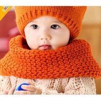 2014 Nueva 4 colores Moda Niños Niñas de punto Lovely Baby Infant Bufandas Niños del calentador del cuello para el envío de Invierno O- Bufandas gratuito