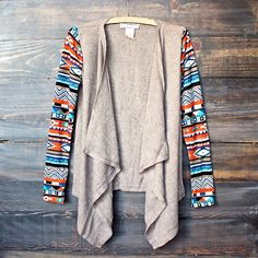 lightweight open front cascading cardigan with aztec print sleeves - taupe