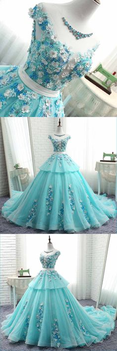 Princess blue tulle cap sleeves sweep train ball gown, formal dress with 3D lace #prom #dress #promdress #promdresses
