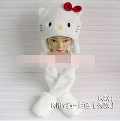 winter hat cartoon character animal cap ear protector plush beanies with long Scarf and Gloves set for women/men/child