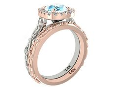 UNIQUE Two tone wedding rings set Aquamarine ring by BridalRings