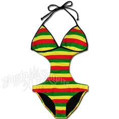 Rasta Empire Striped Monokini Swimsuit