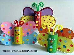 Bricolage d'un papillon multicolore Les enfants ont adoréeeeee!!! Super