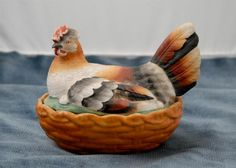 hen on nest | ... English Colored Staffordshire Hen On Nest Circa 1860-1880 - For Sale