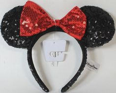 NEW Disney Parks Minnie Mouse Red Black Sequin Headband - Ears Costume Bow  Hat 12486565742d