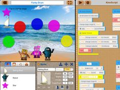 KineScript is a visual programming language that children can learn a code and share it. It's easy to make a scene with built-in sprite characters, stage images and sounds library.