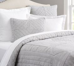 I like the idea of the shams layered with white bedding The Emily & Meritt Ticking Stripe Patchwork Quilt & Sham Bed Sheets Online, Cheap Bed Sheets, Cheap Bedding Sets, Bedding Sets Online, Luxury Bedding Sets, Comforter Sets, Small Room Bedroom, Home Bedroom, Modern Bedroom