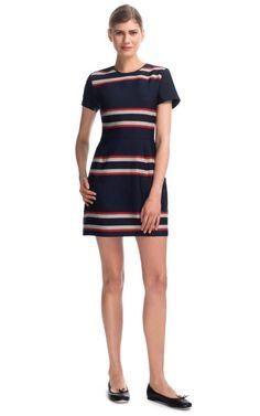 Engineered Stripes A-Line Dress
