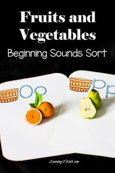 Our fruits and vegetables beginning sounds activity was a huge hit and we were even able to squeeze in some preschool letter recognition activity as well