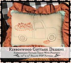 PDF Embroidery Pattern Vintage Aqua Truck by RibbonwoodCottage