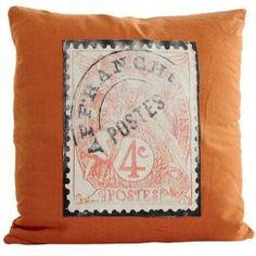 Coussin orange DIALMA BROWN timbre poste x 2