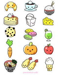 Cute Food Drawings, Cute Kawaii Drawings, Cute Animal Drawings, Kawaii Art, Cartoon Drawings, Kawaii Shop, Food Drawing Easy, Kawaii Doodles, Cute Doodles