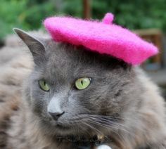 French Cat Beret  Wool Felted Raspberry Beret by ToScarboroughFair, $36.00