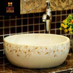 Barato Porcelana artesanal de cerâmica pia lavatório lavatório, Compro Qualidade Pias de banheiro diretamente de fornecedores da China:  Caro amigo,  Se não houver nenhuma methor