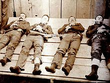 Memento Mori of the Dalton Gang. Left to right: Bill Power; Bob Dalton; Grat Dalton, Dick Broadwell