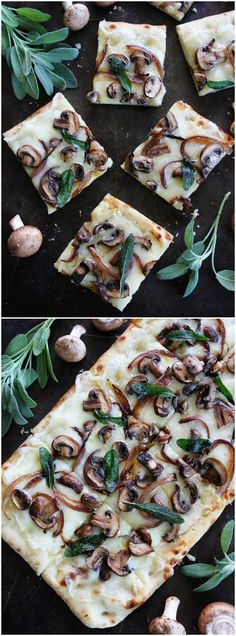 Mushroom Fontina Flatbread with Crispy Sage Recipe on twopeasandtheirpo. This easy flatbread is great served as an appetizer or simple meal. Sage Recipes, Vegetarian Recipes, Cooking Recipes, Drink Recipes, Good Food, Yummy Food, Appetizer Recipes, Flatbread Appetizers, Flatbread Ideas