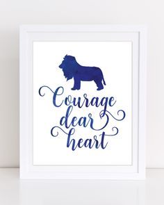 CS Lewis, Courage Dear Heart, Narnia Quotes, Narnia Wall Art, Navy Wall Art, Lion Print, INSTANT DOWNLOAD, Motivational Print, Boys Room by DuneStudio on Etsy
