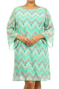 $48.95 Plus Size Dress Chevron Chiffon Mint - Kelly Brett Boutique