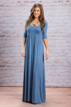 """""""Way To My Heart Maxi Dress, Denim Blue"""" We already know the way to your heart! It's with this maxi dress right here! Which is why we brought it back in a new fabulous color! #newarrivals #shopthemint"""