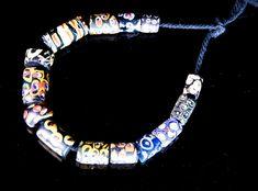 Venetian Millefiori African Trade Beads, 14 Beads 0515B
