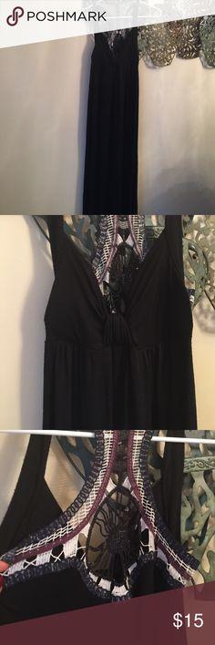 Maxi dress crochet back Long  black jersey dress padded chest with crochet back Trac Dresses Maxi