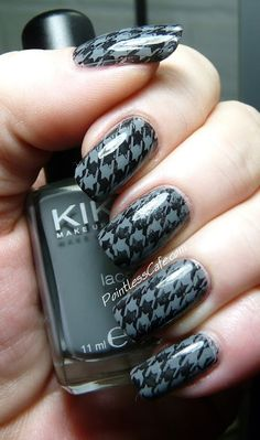 Nail of the Day: Houndstooth Stamping and a Matching Skirt | Pointless Cafe