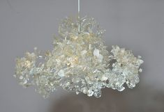 Chandelier Ceiling Light with Transparent and white leaves and flowers for living room or dinning table.