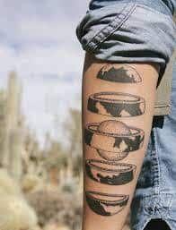 planet earth, reimagined as a russian doll, back of the arm tattoo, geometric tattoo designs Tattoo Life, I Tattoo, Drawing Tattoos, Tattoo Girls, Great Tattoos, Beautiful Tattoos, Tattoo Earth, Erde Tattoo, Mundo Tattoo