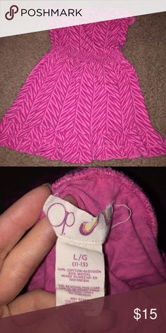 Women's OP L pink zebra strapless dress Excellent op Dresses Strapless