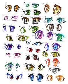 30 pairs of anime eyes by Lizalot on DeviantArt
