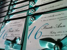 Tiffany Themed Sweet 16 Invitations | In my mother's defense she did cut the ribbon for me}