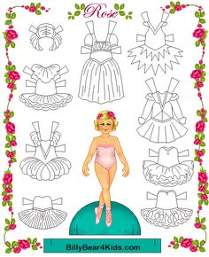 here is a ballet paper doll with clothes you can color yourself
