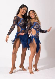 This beautiful design is made of black floral stretch lace fabric and royal blue long fringe.  The longest point of fringe is 18 cut in an angle in the front and back.  The back design has clasps to attach the straps. Easy to wear and comfortable.  Filled with Sapphire & Sapphire AB rhinestones to accent this design.  This bodysuit has built in nude underwear and built in C cups.  This costume fits an adult size small.  The costume was worn for 1 performance and used for a photoshoot.  Pl...