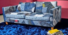 Denim covered couch
