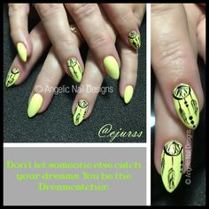 """""""Don't let someone else catch your dreams. you be the Dreamcatcher."""" This beautiful set of nails was created with Artistic Nail Designs Rock Hard Liquid & Powder topped with Artistic Colour Gloss in with Dreamcatcher design done in CJ"""