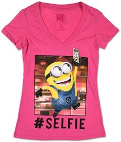 Juniors Despicable Me Selfie Minion Juniors Slim TShirt Size XL * Want additional info? Click on the image.