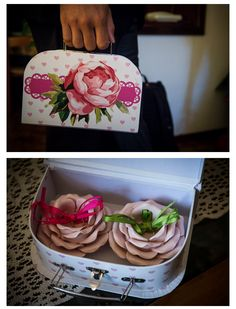 Ideas for wedding rings: a cute box with peony and little hearts instead of classing wedding cushion. Inside: two pink roses in ceramic with green & hot pink bows.