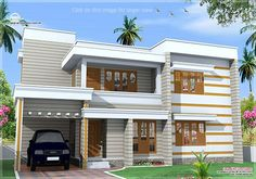 Flat roof house exterior in 1850 sq.feet - Kerala home design - Architecture house plans
