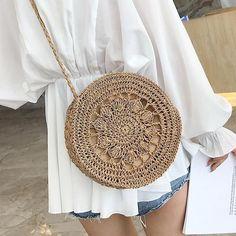 Boho Handmade Round Flower Straw Woven Bag - Unique Handmade Flower Straw Bag New DIY Woven Shoulder Bag Da - Handmade Clutch, Handmade Bags, Handmade Leather, Handmade Bracelets, Bag Women, Boho Bags, Crochet Handbags, Crochet Bags, Casual Bags