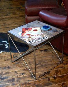 Side Table Wood, Side Table Metal, Recycled Wood, Accent Table, Wood Furniture, Living Room, Industrial Side Table- FREE Shipping